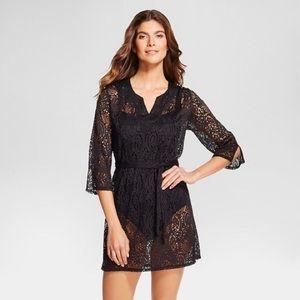 Merona crocheted black belted swim cover up dress